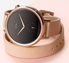 Motorola Moto 360 - Cadran or rosé double bracelet cuir rose Cuir Rose, Cool Watches, Wrist Watches, Nixon Watches, Luxury Watches, Fashion Watches, Women's Fashion, Smart Watch, Jewelry Gifts