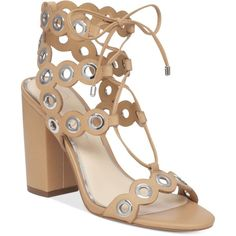 Jessica Simpson Kariss Strappy Embellished Block-Heel Sandals (7.280 RUB) ❤ liked on Polyvore featuring shoes, sandals, sand castle, sand shoes, jessica simpson sandals, jessica simpson shoes, color block shoes and strappy heeled sandals