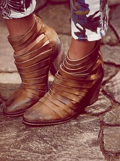 Strappy ankle boots.