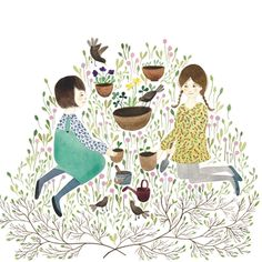 "112 Me gusta, 3 comentarios - Maki Hasegawa (@abstractales) en Instagram: ""Receiving the energy of sprouting in the spring time #illustration #watercolor #children #girls…"""
