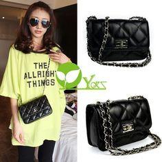 Women Plaid Diamond Leather Mini Cross Body Chain Shoulder Bag Handbag Purse  DX