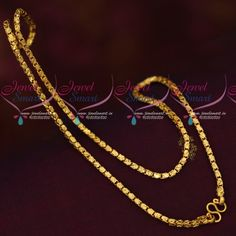 2 MM Fancy Box Design Chain Gold Covering South Indian Jewellery 2 mm wide chain and new chains would be stiff intially. Total length of the chain is 18 inches. Base metal is copper and plating colour is micron gold Gold Chain Design, Gold Bangles Design, Gold Earrings Designs, Gold Jewellery Design, Gold Jewelry, Jewellery Box, Ring Designs, Bridal Jewelry, Jewlery