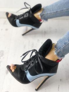 ea7f1e63f4d6 Colorblock Fishnet Insert Lace-up Sandals Lace Up Sandals
