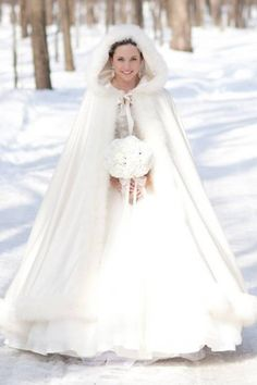 winter wedding cloak. It's like Little Red Riding Hood is now getting married, and her grandma knitted her a white cloak just for her special day. (in place of her veil.)