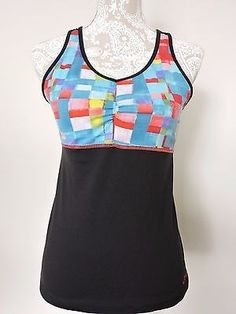 17.95$  Buy now - http://viunj.justgood.pw/vig/item.php?t=vbrk2w4086 - Asics Athletic Shirt Tank Top M Built in Bra Racer Back Back Pockets Cycling EUC 17.95$