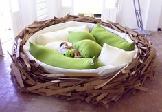 """The """"Giant Birdsnest for creating new ideas"""" was conceived and created by O*GE CreativeGroup as a prototype for new and inspiring socializing space. Part furniture part playground, the design could definitely be useful in tons of scenarios, mostly involving my bedroom."""