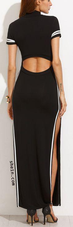 Black Striped Trim Short Sleeve Split Maxi Dress