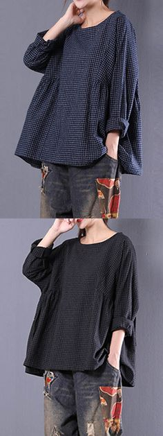 ZANZEA Loose Plaid Long Sleeve O-Neck Blouse For Women can cover your body well, make you more sexy, Newchic offer cheap plus size fashion tops for women. Sewing Clothes Women, Moda Casual, Tunic Pattern, Blouse Outfit, Pants Outfit, Linen Dresses, Wardrobes, I Dress, Blouses For Women
