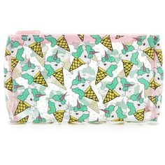Forever21 Unicorn Cone Print Makeup Bag ($6.90) ❤ liked on Polyvore featuring beauty products, beauty accessories, bags & cases, makeup purse, purse makeup bag, travel kit, forever 21 and cosmetic purse