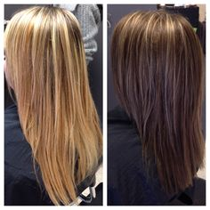 From drab blonde to rich, beautiful brown with a few highlights!