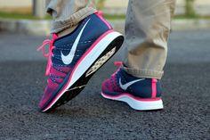 #nike #flyknit navy pink #sneakers