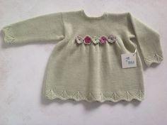 Handknitted baby dress/ baby merino dress / baby by DaLuforkids Knitting For Kids, Baby Knitting, Knit Baby Sweaters, Baby Girl Gifts, Baby Girl Dresses, Knitting Patterns, Knit Crochet, Stuff To Buy, Fashion