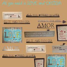 All you need is Love and Design. Tem vários presentes legais no site e em nossa loja! http://www.marcheartdevie.com.br/loja-virtual/acessorios/frase-de-mesa-sinuosa-eu-te-amo/