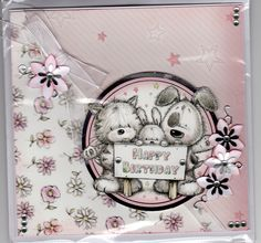 Hunkydory Smudge & Mitten topper - card made by sue elvin