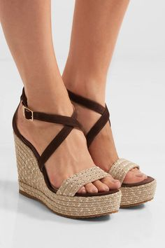 Brown suede  Wedge heel measures approximately 120mm/ 5 inches with a 40mm/ 1.5 inches platform  Buckle-fastening ankle strap  Made in Spain