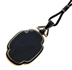 Antique Enamel and 14K Gold Locket with Rope Necklace , circa 1890