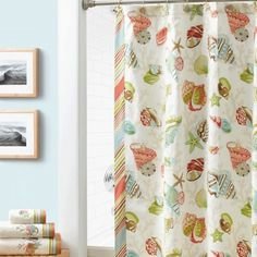 "Croscill Coral Beach Shower Curtain - Hit the beach with bright and cheerful ""Coral Beach""! This printed shower curtain features soft and colorful tossed coral motifs and is bordered with diagonal candy cane stripes in a sunny beach color palette. #bathroom #decor #showercurtain #beach"