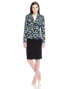 9942aa7b039e5 Le Suit Women s 3 Button Printed Twill Faux Flap Pocket Jacket and Skirt  Suit Set (