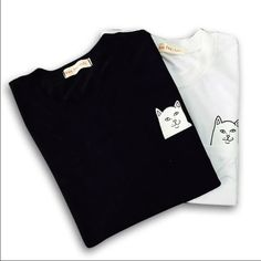4ef2b919e19 Black Cat in the pocket tshirt New black shirt sleeve tshirt.  funny  humor