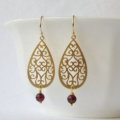 Garnet Gold Dangle Earrings January Birthstone by PeriniDesigns