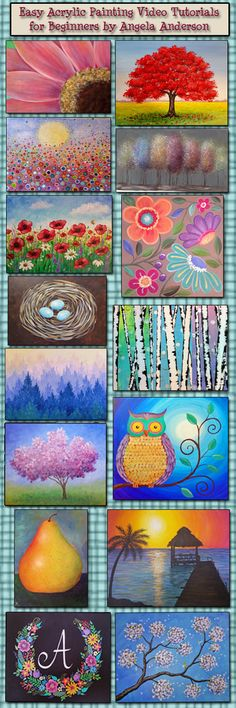 Artist angela anderson shares kids art projects, art instruction ideas, video tutorials, and Simple Acrylic Paintings, Acrylic Painting Tutorials, Painting Videos, Acrylic Art, Painting Art, Art Paintings, Painting Tips, Beginner Painting, Painting Techniques