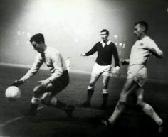 Action from Hearts v Valerengen of Norway in the 1965/66 Fairs Cup at Tynecastle.