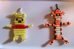 super cute Winnie the Pooh Bead Buddies Pony Bead Projects, Pony Bead Crafts, Seed Bead Crafts, Beaded Crafts, Wire Crafts, Beading Projects, Pony Bead Patterns, Beading Patterns, Bracelet Patterns