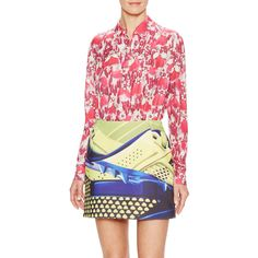 Mary Katrantzou Red Feathers Gala Silk Blouse ($499) ❤ liked on Polyvore