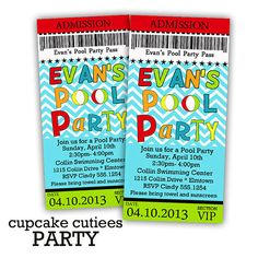 Pool Party  Ticket Pass BOYS - Bright  Digital Custom Invitation Tickets  Printable u PRINT via Etsy