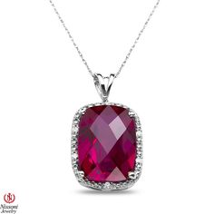Ebay NissoniJewelry presents - Ladies .06CT Diamond Pendant and chain with Created Ruby in Sterling Silver    Model Number:PV5295A-SI77CRU    http://www.ebay.com/itm/Ladies-.06CT-Diamond-Pendant-and-chain-with-Created-Ruby-in-Sterling-Silver/321857632945