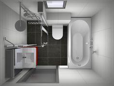 Betaalbare en zeer complete kleine badkamer met ligbad, douche, toilet en wastafel.