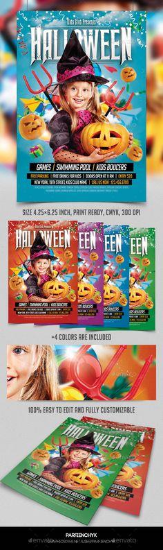 Kids Halloween Party Flyer Tempalte #design Download: http://graphicriver.net/item/kids-halloween-party-flyer-template/9200056?ref=ksioks