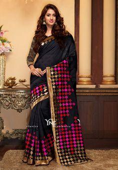 e9a603c39a5013 buy saree online Black Colour Designer Heavy Cotton Silk With Jacquard Saree  And Blouse Buy Saree online UK - Buy Sarees online