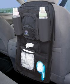 Keep everything that Baby might need while on the road in this convenient car organizer that installs behind either front seat. Featuring a durable construction and plenty of pockets for diapers, wipes, bottles and more, it is the perfect way for parents to stay prepared for an infant's every need.   CHOKING HAZARD: Small parts. Not for children under 3 years