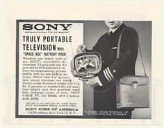 Sony 8-301W Portable TV Television (1962)