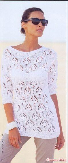 Доброе утро, девочки!.. В центре внимания этого белоснежного пуловера - великолепный фантазийный узор по всему вязаному полотну.