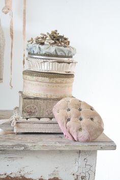 covering boxes with old fabric