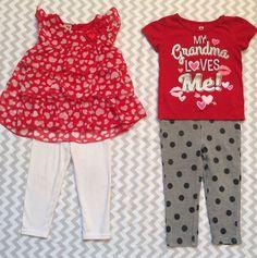 Healthtex Girls Outfits Red White Glitter Hearts Shirts Pants Size 2T (B1)    eBay