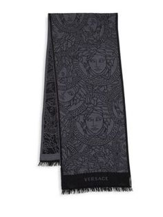 Greek Key knitted scarf - Blue Versace AtEhV7