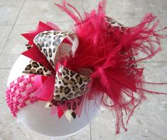 Leopard Shocking Pink Over the Top Ostrich by MyBellaBellaBowtique, $15.95