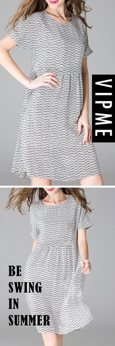 Casual Mini Dress Could Be Selected as Your Most Lovely Clothing in the Summer. Gray and Black, Swing and Casual, Enjoy Free Shipping On VIPme.com NOW!