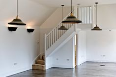 A single winder softwood staircase. With a traditional handrail and spindles completing the balustrade including the small landing return. Glass Stairs, Metal Stairs, Painted Stairs, Wooden Stairs, Bespoke Staircases, Wooden Staircases, Curved Staircase, Staircase Design