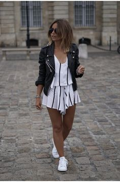 this looks like a romper or a two piece but i like it with the jacket... i love two piece outfits that have the same pattern top and bottom