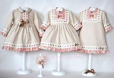 Creative way to dress twins or triplets without them being the same. Little Girl Outfits, Little Girl Fashion, Little Girl Dresses, Kids Outfits, Kids Fashion, Baby Girl Dresses, Baby Dress, Cute Dresses, Kids Frocks