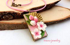 Sakura, růžový náhrdelník, třešňový květ, Sakura šperky, růžové šperky, květinový náhrdelník, jarní šperky, romantické šperky, dárky pro ženy, polymerová hlína, fimo