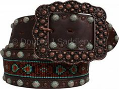 Brown Vintage Beaded Belt by Double J Saddlery.