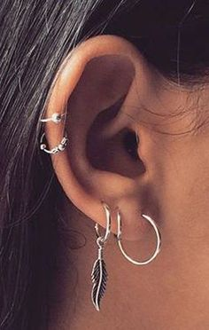 Cute Ear Piercing Ideas at MyBodiArt.com - Sterling Silver Cartilage Piercing Hoop - Leaf Helix Piercing Jewelry