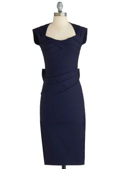 Salute to You Dress by Stop Staring! - Long, Blue, Solid, Bows, Cutout, Pleats, Sheath / Shift, Cap Sleeves, Cocktail, Exclusives, Nautical, Top Rated