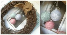 DIY:: Make Your Own Bakers Twine Wrapped Ornaments ~    1: Gather supplies: spray adhesive, twine, ornaments.  2: Spray adhere ornament, wrap twine continuously.  3: Wrap as many as you'd like, as many colors are in your scheme.    Shown decorating a grapevine wreath with burlap bow.