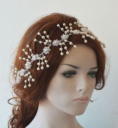 Pearl  Headpiece Bridal Headpiece Pearl Hair by ADbrdal on Etsy